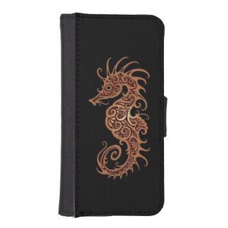Intricate Brown Seahorse Design on Black Phone Wallets