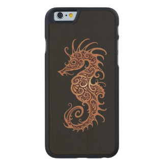 Intricate Brown Seahorse Design on Black Carved® Maple iPhone 6 Slim Case