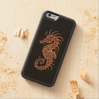 Intricate Brown Seahorse Design on Black Carved® Maple iPhone 6 Bumper