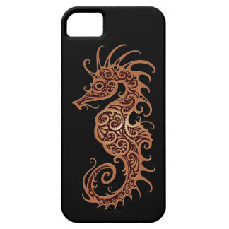 Intricate Brown Seahorse Design on Brown iPhone 5 Covers