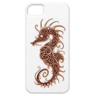 Intricate Brown Seahorse Design on White iPhone 5 Cases