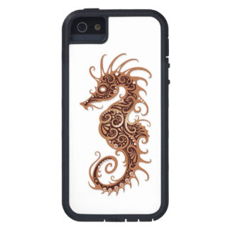 Intricate Brown Seahorse Design on White iPhone 5 Cover