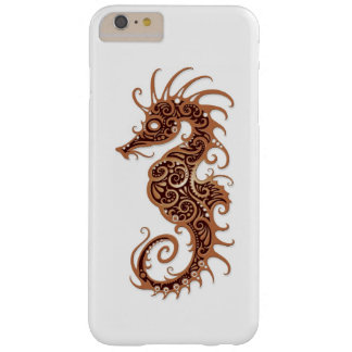 Intricate Brown Seahorse Design on White Barely There iPhone 6 Plus Case