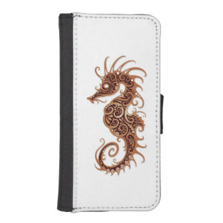 Intricate Brown Seahorse Design on White iPhone 5 Wallets
