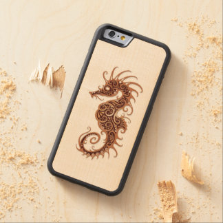 Intricate Brown Seahorse Design on White Carved® Maple iPhone 6 Bumper