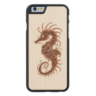 Intricate Brown Seahorse Design on White Carved® Maple iPhone 6 Slim Case