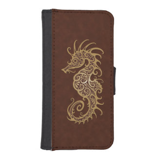 Intricate Brown Seahorse Design Phone Wallet