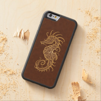 Intricate Brown Seahorse Design Carved® Maple iPhone 6 Bumper