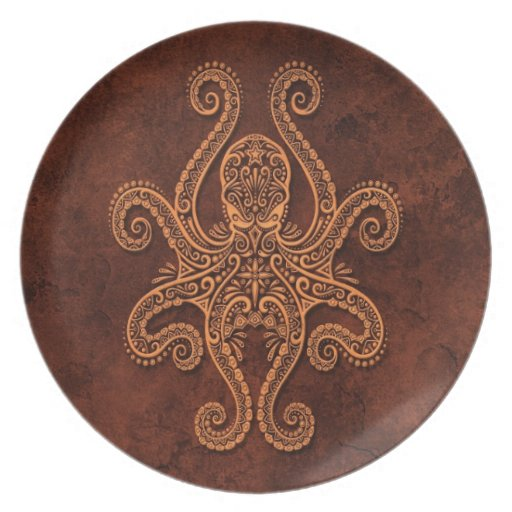 Intricate Brown Stone Octopus Dinner Plates