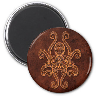 Intricate Brown Stone Octopus Magnet