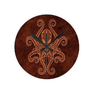Intricate Brown Stone Octopus Round Clock