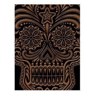 Intricate Brown Sugar Skull on Black Postcard
