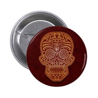 Intricate Brown Sugar Skull Pinback Button