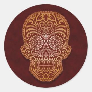 Intricate Brown Sugar Skull Round Sticker