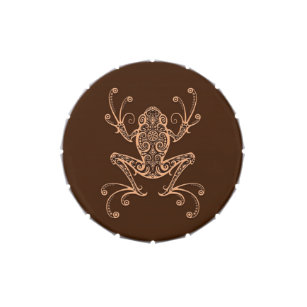 Intricate Brown Tree Frog Jelly Belly Candy Tin