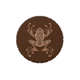 Intricate Brown Tree Frog Jelly Belly Tin