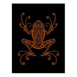 Intricate Brown Tree Frog on Black Postcard
