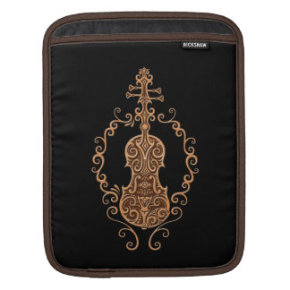 Intricate Brown Violin Design on Black Sleeves For iPads