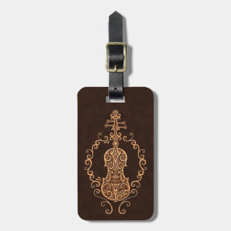 Intricate Brown Violin Design Tag For Luggage
