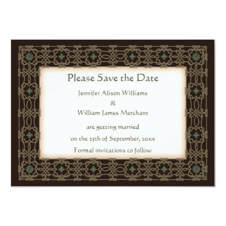 Intricate Celtic Knot Border Wedding Save the Date 4.5x6.25 Paper Invitation Card