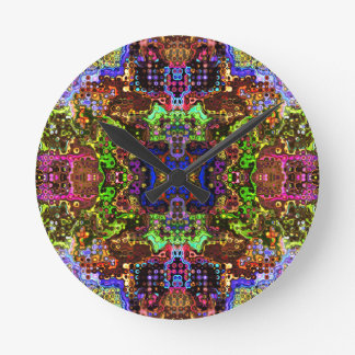 Intricate Colorful Abstract Round Clocks