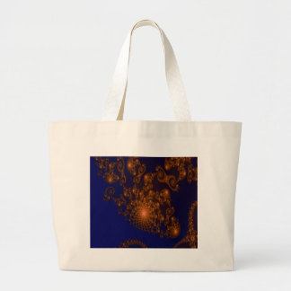 Intricate Copper Frills on Night Blue Fractal Large Tote Bag