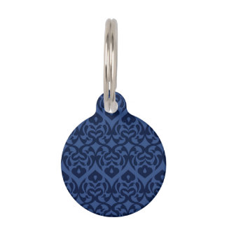 Intricate Dark Blue Heart Pattern On Soft Blue Pet Name Tag