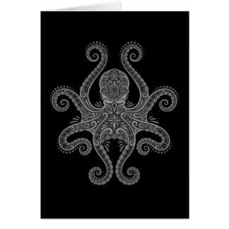 Intricate Dark Octopus Greeting Card