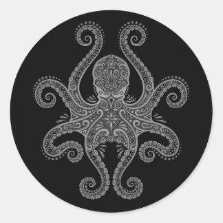 Intricate Dark Octopus Classic Round Sticker
