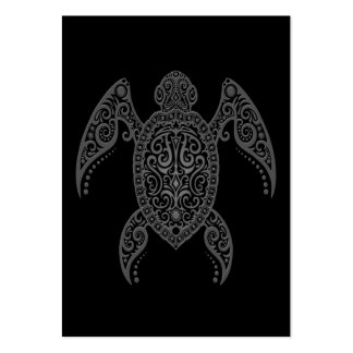 Intricate Dark Sea Turtle Business Cards