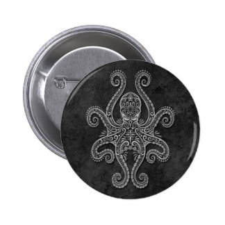 Intricate Dark Stone Octopus Pinback Button