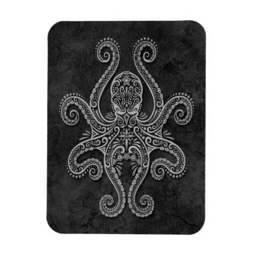 Intricate Dark Stone Octopus Rectangular Photo Magnet