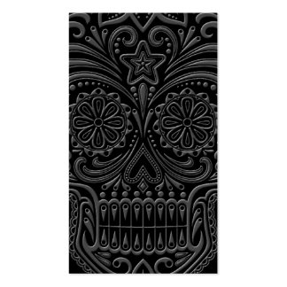 Intricate Dark Sugar Skull Business Card Template