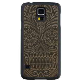 Intricate Dark Sugar Skull Carved Maple Galaxy S5 Case