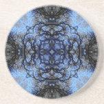Intricate Decorative design. Black & Blue. Drink Coaster