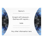 Intricate Decorative design. Black & Blue. Personalized Invite