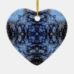 Intricate Decorative design. Black & Blue. Christmas Tree Ornaments