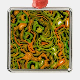 intricate emotions,green orange (C) Square Metal Christmas Ornament