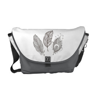 Intricate Feather Doodle Messenger Bag