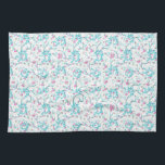"Intricate Floral Collage Kitchen Towel<br><div class=""desc"">Digital photo collage and manipulation technique nature floral intricate collage motif seamless pattern design in pink and cyan colors against white</div>"