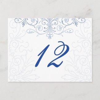 Intricate Flourish Wedding Table Number Postcard postcard