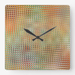 Intricate Gold Yellow Pink Red Green Pattern Square Wall Clock