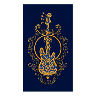 Intricate Golden Blue Bass Guitar Design Double-Sided Standard Business Cards (Pack Of 100)