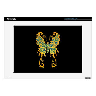 """Intricate Golden Blue Butterfly on Black Decal For 15"""" Laptop"""