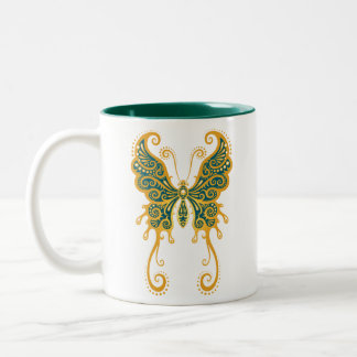 Intricate Golden Blue Butterfly Two-Tone Coffee Mug