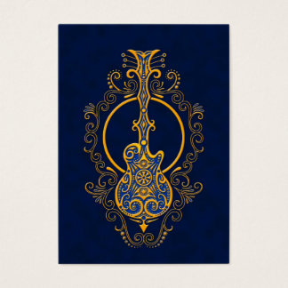 Intricate Golden Blue Guitar Design Business Card
