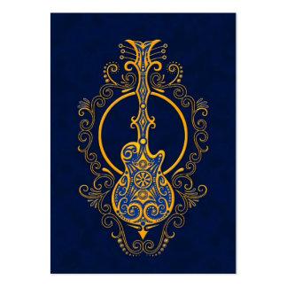 Intricate Golden Blue Guitar Design Large Business Card