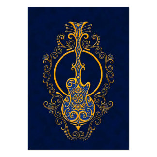 Intricate Golden Blue Guitar Design Large Business Cards (Pack Of 100)