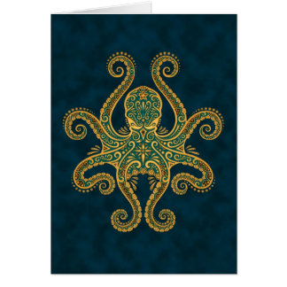 Intricate Golden Blue Octopus Greeting Card