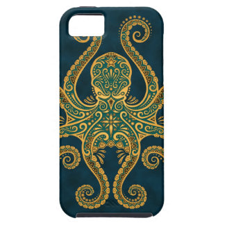 Intricate Golden Blue Octopus Case For The iPhone 5
